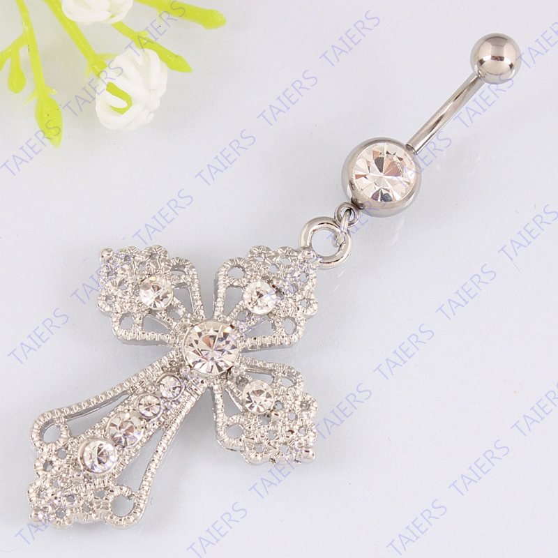 Belly Ring Cross Body Piercing Jewelry Retail Belly Button -9069