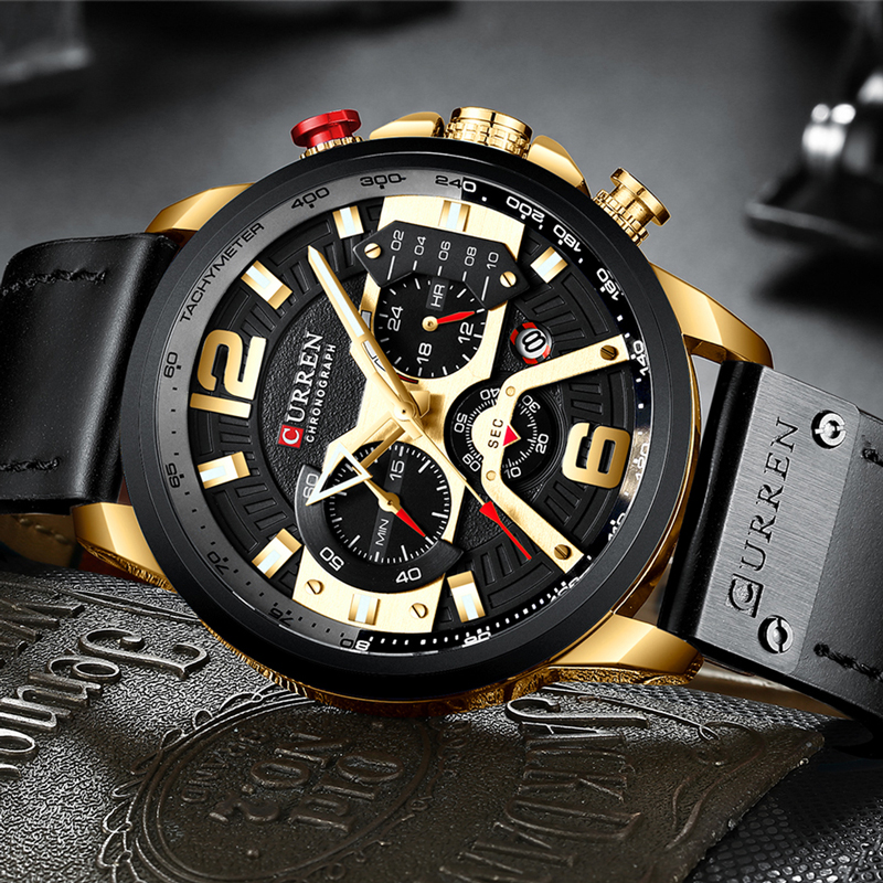 Wristwatch Mens CURREN 2019 Top Brand Luxury Sports Watch Men Fashion Leather Watches with Calendar for Men Black Male Clock 3