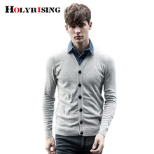 Holyrising False Two Pieces Knitted Clothing Slim Fit Patchwork Pullover Men