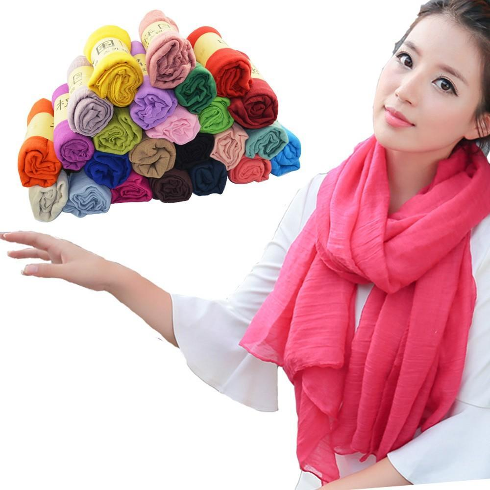 Candy Color Solid Cotton   Scarf   Shawl   Wrap   180*90CM Long   Scarves   Stole for Women