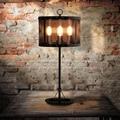 Retro Industrial LOFT Iron Desk Lamp. Vintage Iron net cage Cylindrical table lamp reading lights lantern edison bulb art deco