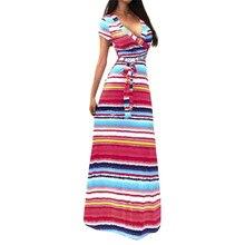 608c6a2912 Lato Tęcza Maxi Sukienka Kobiety Kolorowe Sukienka V-Neck Bez Rękawów  Spaghetti Strap Backless Sexy Czeski Long Elegancka Sukien.