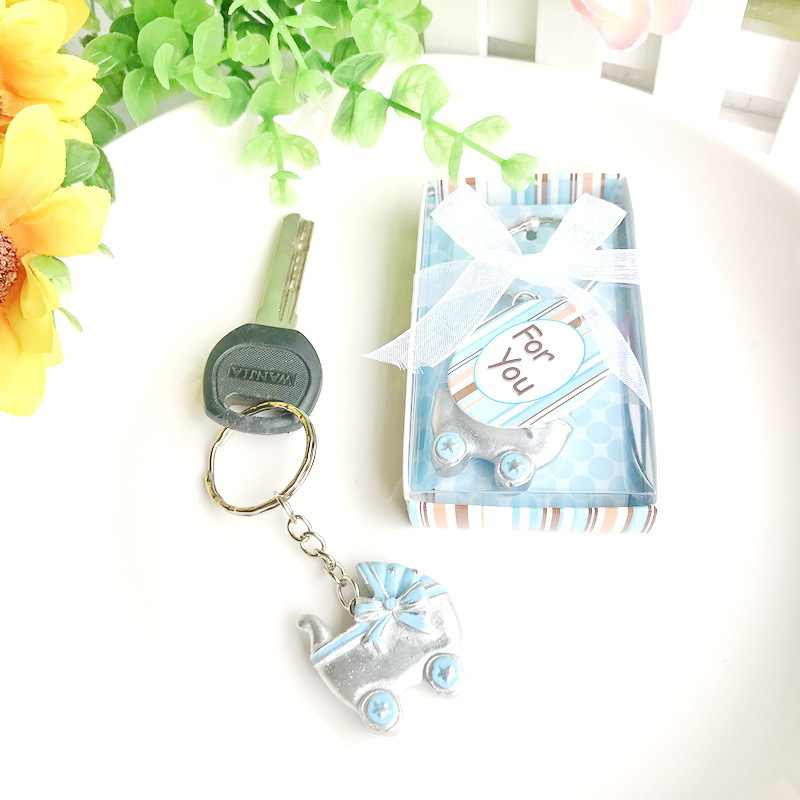 10 Pcs Kereta Bayi Gantungan Kunci Favor Baby Shower Pembaptisan Pesta Kenang-kenangan Ulang Tahun Gantungan Kunci Hadiah