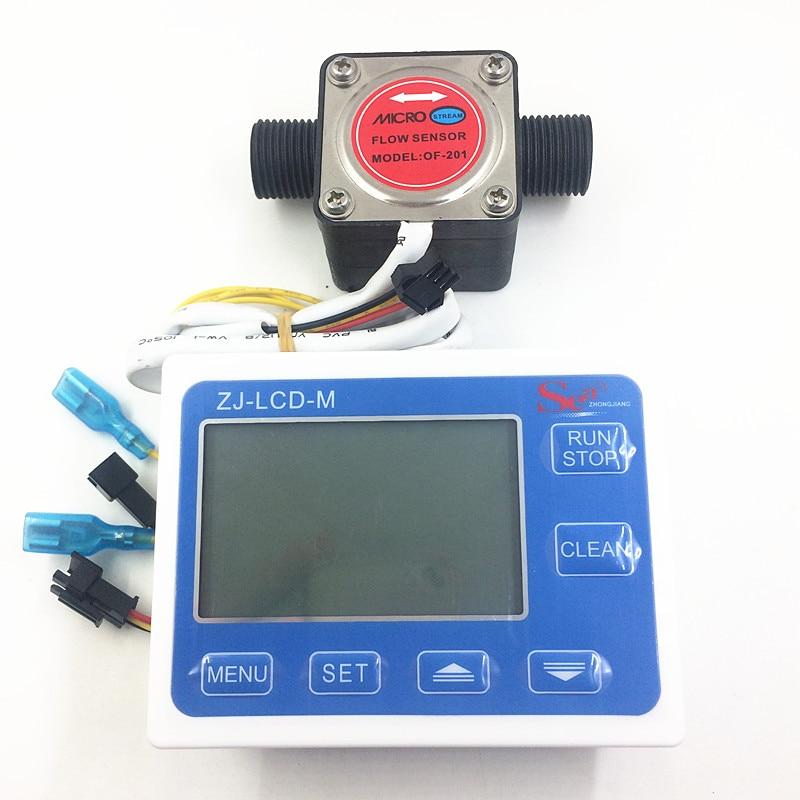Gear Débitmètre Huile indicateur Salle de Capteur de débit Débitmètre de Carburant Jauge Contre Lait Produits Chimiques Peinture Détergent G1/2 ZJ-LCD-M + OF201