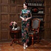 Hohe Qualität Samt Cheongsam Kleid Chinesischen frauen Traditionellen Qipao Tops elegante Lange Mantel Blume Kleid Sml XL XXL XXXL
