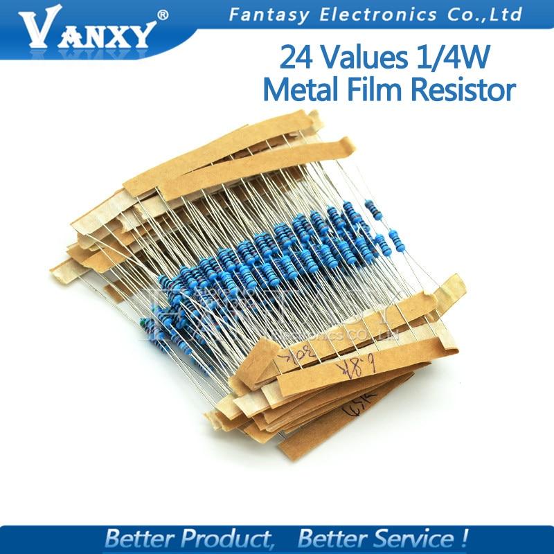 24valuesX10pcs=240pcs 1/4W 0.25W 1% 4.7k-68k Metal Film Resistor  Component Diy Kit Package New And Original