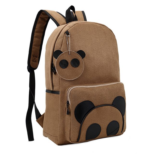 High Quality Suede Panda Backpack Schoolbag College Rustic Tide Packsack  Korean Middle School Knapsacks Women Vintage f68344cef2c4f