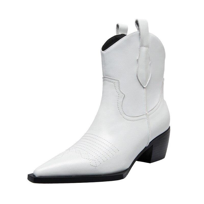 Vrouwen laarzen lederen vrouwen schoenen vintage enkel schoenen 2019 nieuwe slip op ontwerp vierkante hak herfst winter schoenen vrouw-in Enkellaars van Schoenen op  Groep 2