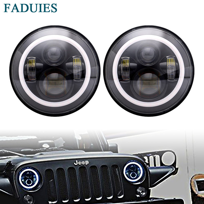 FADUIES 7 Round H4 40W Hi/Lo Beam LED Headlamp 7 Black Projector Headlight Halo Eyes For Jeep Wrangler JK LJ TJ Lada niva 4x4 7inch round halo headlights 45w wrangler jk high low beam headlamp 7 angel eyes projector head light for jeep land rover
