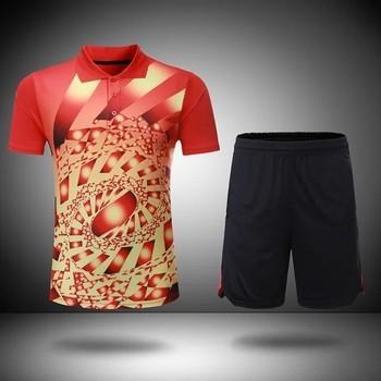 Tenis sportowy tkanina oddychająca szybkoschnąca koszula odprowadzająca wilgoć odzież męska i damska koszulka stołowa odzież tenisowa koszula + spodenki L2044YPD tanie i dobre opinie Krótki Skręcić w dół kołnierz Poliester Szybkie suche Pasuje prawda na wymiar weź swój normalny rozmiar flybomb
