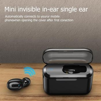 T1 auriculares inalámbricos Bluetooth mini invisible en la oreja solo oreja colgante deportes con cubo de carga puede hacer energía móvil