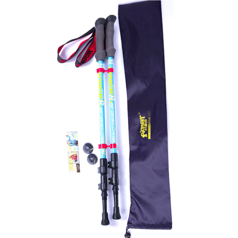 2 pcs/lot Aviation Carbon Fiber/External Quick Lock/3-section Adjustable trekking pole