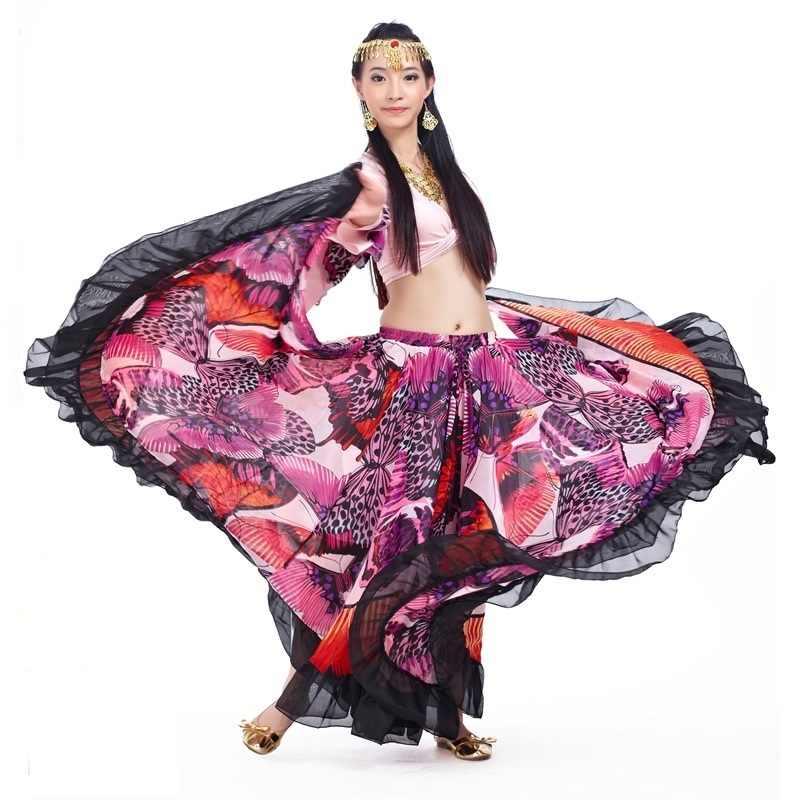 Las nuevas mujeres de Color rosa rojo danza del vientre falda Maxi vientre largo para baile gitano faldas 720 grado círculo bailando ropa