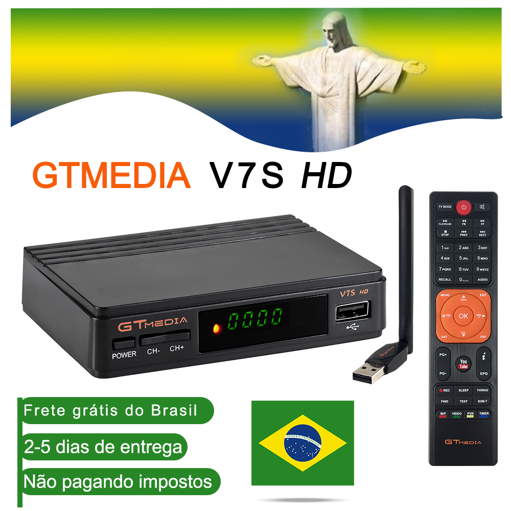 1Year Spain Europe Cline GTMEDIA V7S HD DVB-S2 1080P Satellite TV Receiver+USB WIFI Brazil Spain TV Tuner Upgrade Freesat V7 Hd