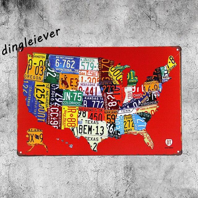 USA Map License plate metal Sign vintage bourbon sign garage signs