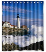 Vixm Fashion Custom Shower Curtains Lighthouse and Wave Beautiful Scene Waterproof Fabric Bath Shower Curtain