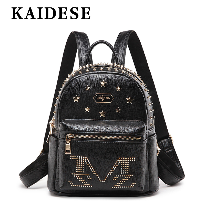 KAIDESE 2018 fashion street letter backpack lady college wind shoulder bag youth travel large capacity backpack leisure bag 2016 new backpack college wind leisure travel fashion leather shoulder bag doubles