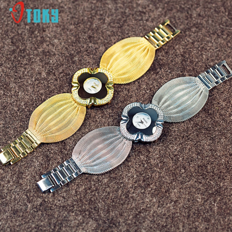 Excellent Quality Brand Gold Plated Circles Strap Stainless Steel Back Shinning Women Watches Fashion Wrist Watches Jan-9