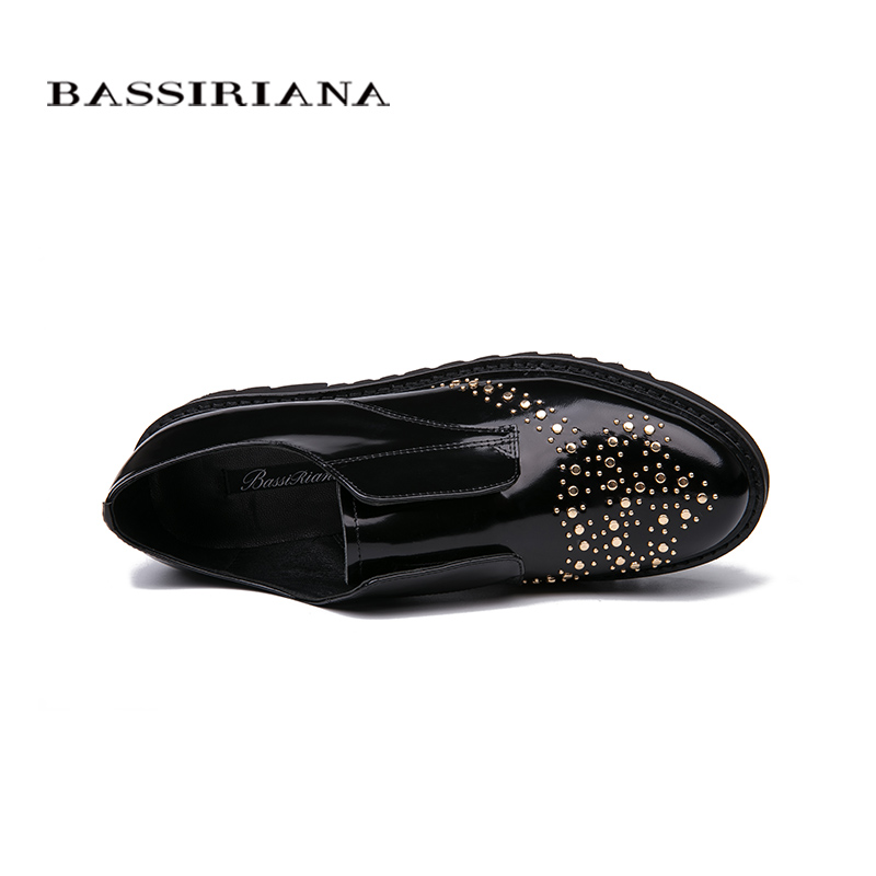 Bassiriana / New 2018 genuine leather Casual without heel women's shoes brand with a round toe cap Black Spring autumn 35 40 siz-in Women's Flats from Shoes    3