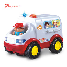 0-3 years baby educational children car toy styling ambulance doctor model electric toy car remote control with light and music