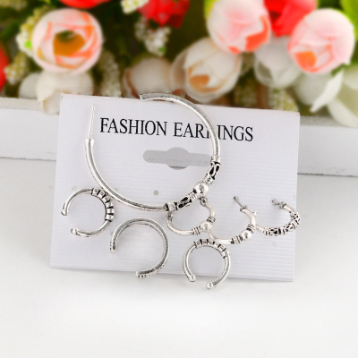 Explosion models bohemian retro suit personality size round earrings set of 7 earrings in Stud Earrings from Jewelry Accessories