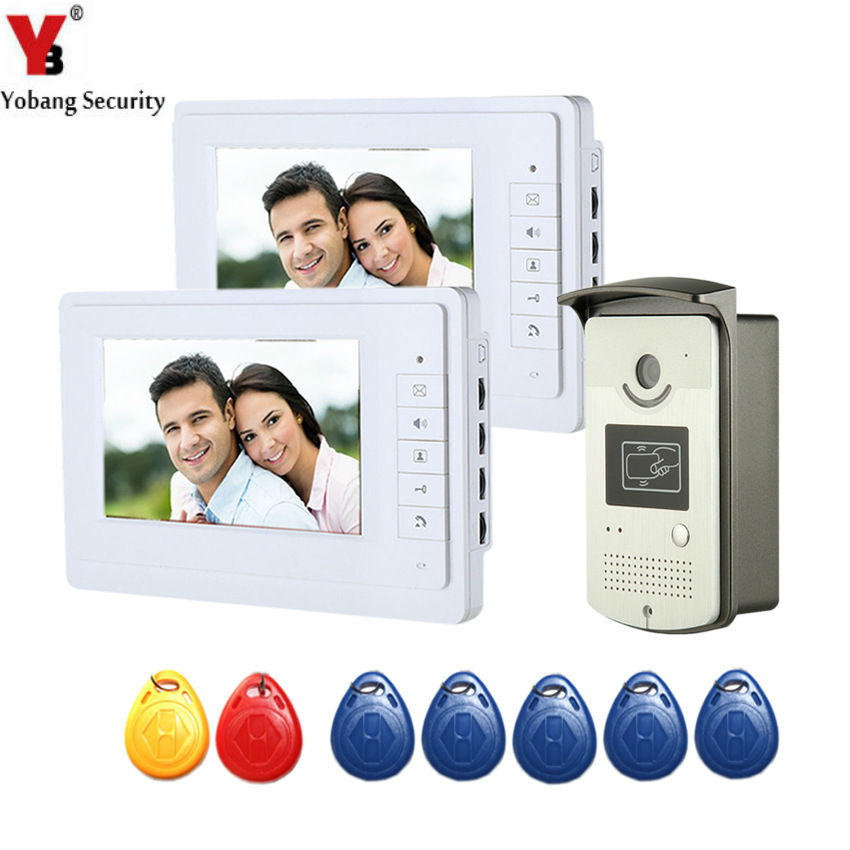 YobangSecurity Video Intercom 7Inch Wired Video Door Phone Doorbell Intercom System With RFID Access Door IR Camera For 2 Units different kinds color screen 7 inch video door phone video intercom wired door bell system with rfid card access control reader