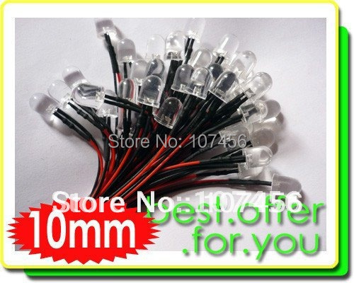 50pcs 10mm White LED Lamp Light Set 20cm Pre-Wired 24V Free Shipping