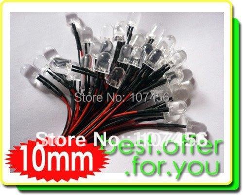 50pcs 10mm White LED Lamp Light Set 20cm Pre-Wired 24V free shipping