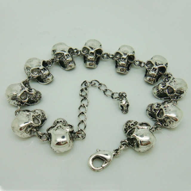 The Pirates Of Caribbean Skulls Bracelet Men S Punk Style Skeleton Design Gothic Jewelry