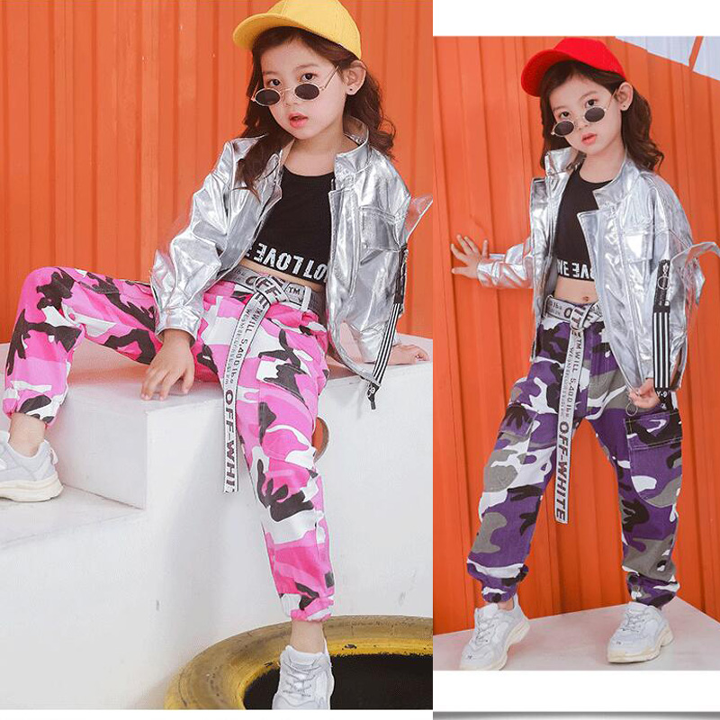 Kids Sliver Ballroom Modern Jazz Hip Hop Dance Wear Costumes Carnival Jacket Tops Pants Girls Boys Party Dancing Clothes Outfits
