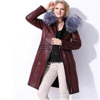 2017 New Winter Women's Thick Coat Faux Leather Big Artificial Furs Long Hooded Warm Jakcet Suede Plush Pockets Large Size 7XL