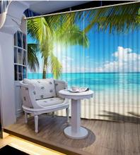 custom 3d landscape curtains Coconut blue sky curtains for living room 3d stereoscopic blackout curtains for bedroom