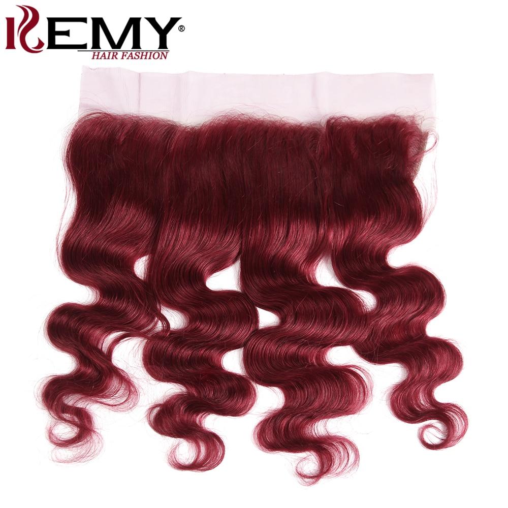 99J Burgundy Brazilian Body Wave Ear to Ear Lace Frontal 13 4 Human Hair Lace Closure