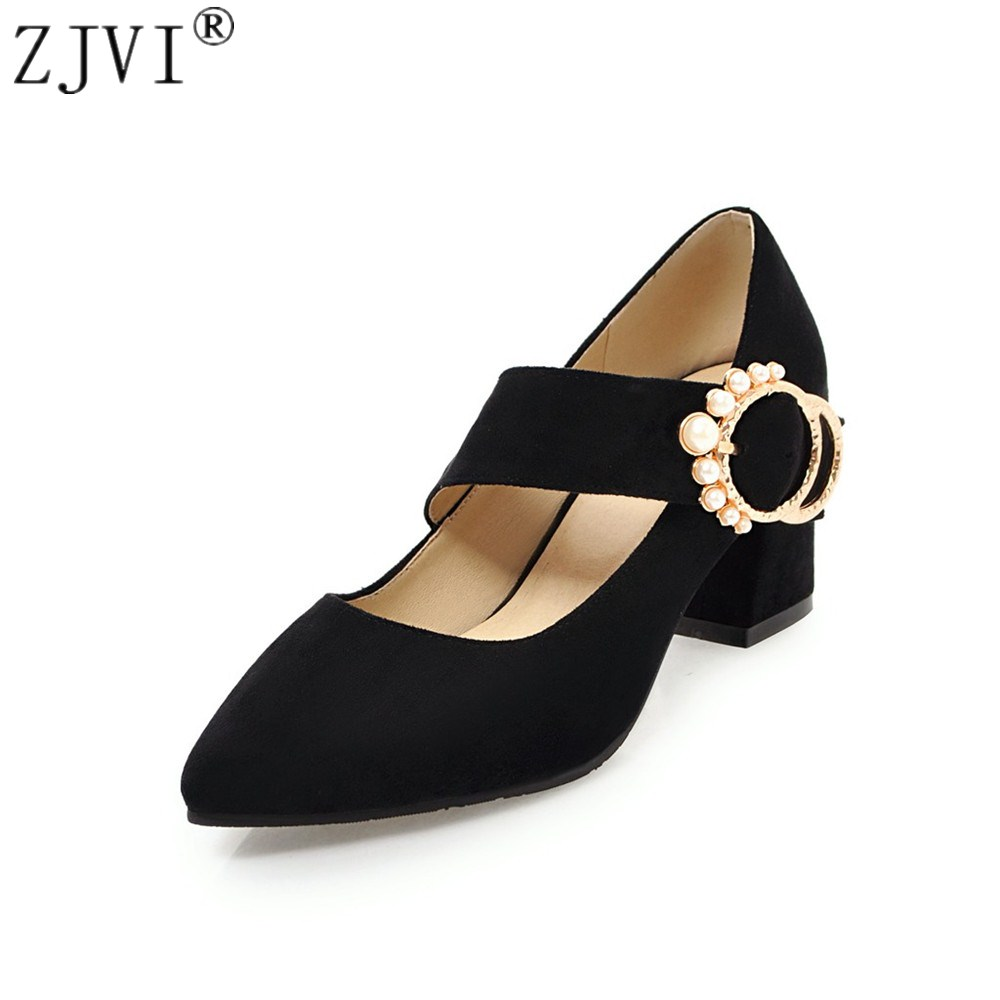 ZJVI women pointed toe High heels pumps woman fashion pearl party shoes 2018 summer ladies autumn nubuck suede womens work pumps new spring summer women pumps fashion pointed toe high heels shoes woman party wedding ladies shoes leopard pu leather