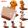 Universal Cell Phone Holder Wood Grain Resin 3D Animal Cute Dog Desk Stand Bracket For Xiaomi