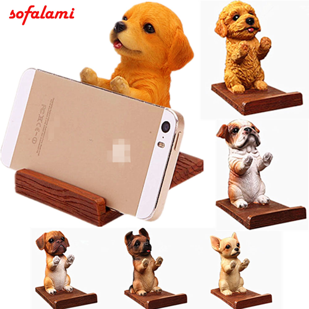 Universal Cell Phone Holder Wood Grain Resin 3D Animal Cute Pet Smart Dog Desk Decor Stand Bracket For IPhone 5 6 7 8 X Plus