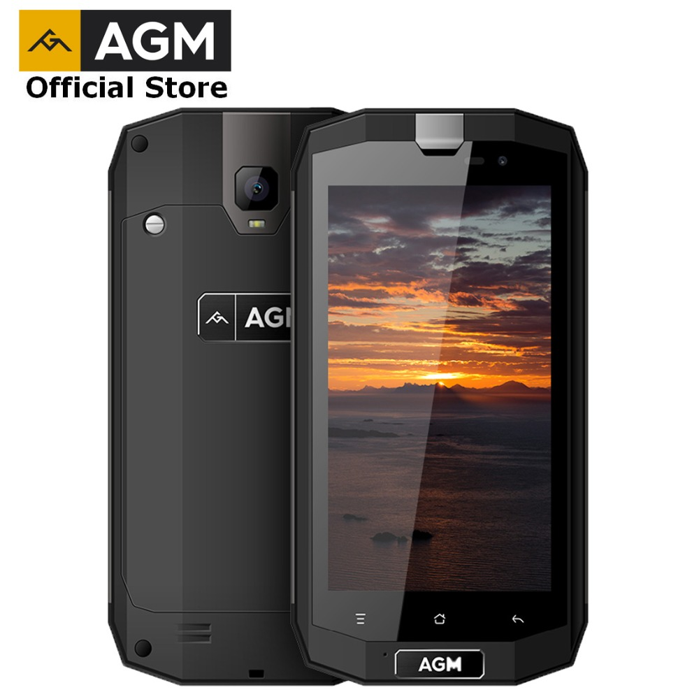 OFFICIAL AGM A1Q 5.0 4G+64G IP68 Waterproof Rugged Mobile Phone Android 7.0 4G FDD LTE Dual SIM Phone Quad Core 13.0MP 4050mAh