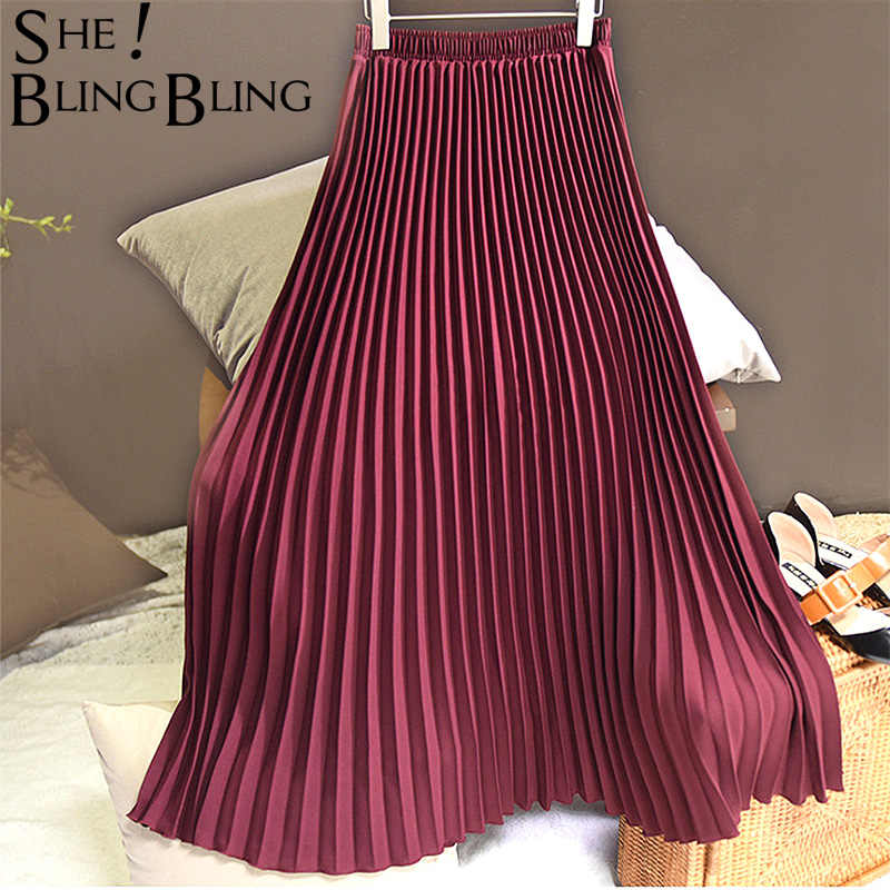 Sheblingbling mujer Falda larga Primavera Verano elástica alta cintura Maxi plisada falda hasta el tobillo elegante mujer Casual faldas