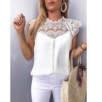 Лето 2019 Женские топы и блузки кружевная Вязаная безрукавка однотонная женская рубашка, блузка Blusas Roupa Feminina SJ2036M