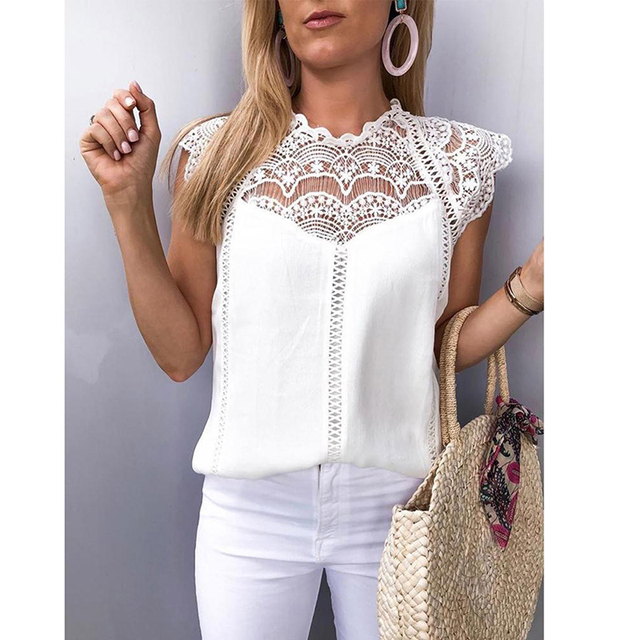 Summer 2019 Womens Tops And Blouses Lace Patchwork Sleeveless Solid Shirt Women Blouse Blusas Roupa Feminina SJ2036M