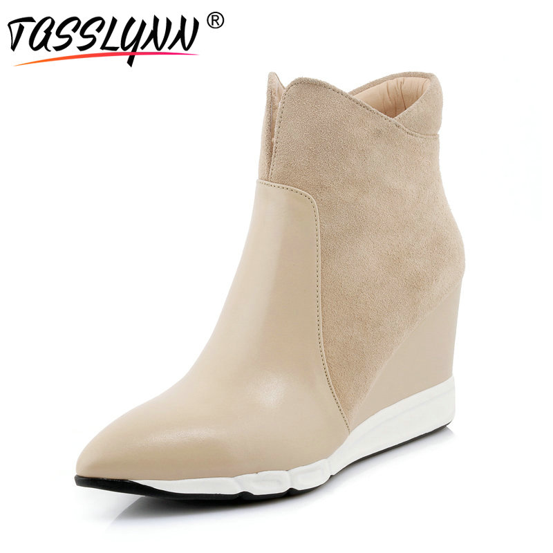 TASSLYNN 2018 Women Shoes Apricot Ankle Boots Zipper Pointed Toe Wedges High Heel Women Boots Winter Causal Shoes Size 34-39