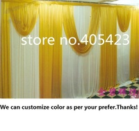 3 6m Width Wedding Meeting Event Party Ice Silk White And Gold Drapery Curtain Background Backdrop