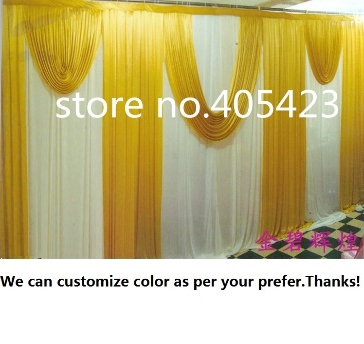 3*6m width Wedding meeting event party ice silk white & gold drapery curtain Background backdrop with swag ( Can be customized )