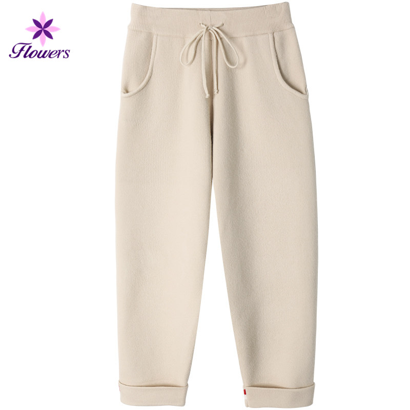 Vêtements white Lq434 La Haute Hiver Slim Automne Coréenne Pantalon Casual Plus Taille Tricoté Creamy Harem Épais Femmes Velours Chaud ncIcqWfUa