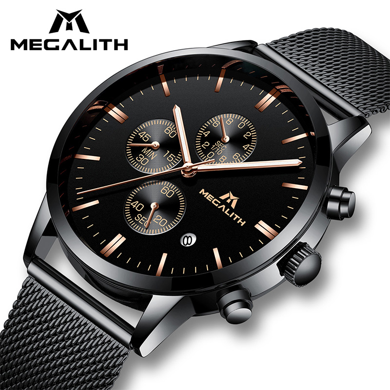 Fashion Luxury Watches Men MEGALITH Stainless Steel Mesh Band Quartz Sport Watch Chronograph Men's Wrist Watch Relogio Clock Men megalith quartz watches mens waterproof chronograph calendar silver stainless steel wrist watch gents sport business men s watch