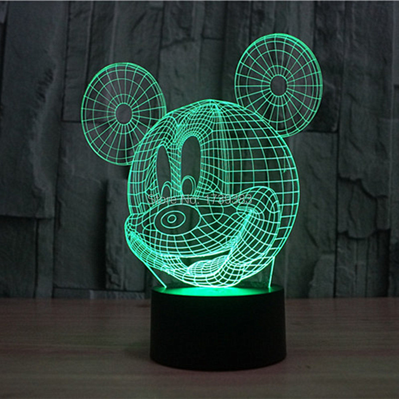 (4pcs/lot) Glowing Color Changing Cute Mickey Mouse 3D Acrylic LED Night Light USB LED Decorative Table Lamp Baby Desk Lighting