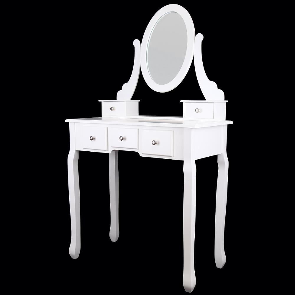 Современный туалетный столик с зеркальным табуретом и 5 ящиками из МДФ - 4