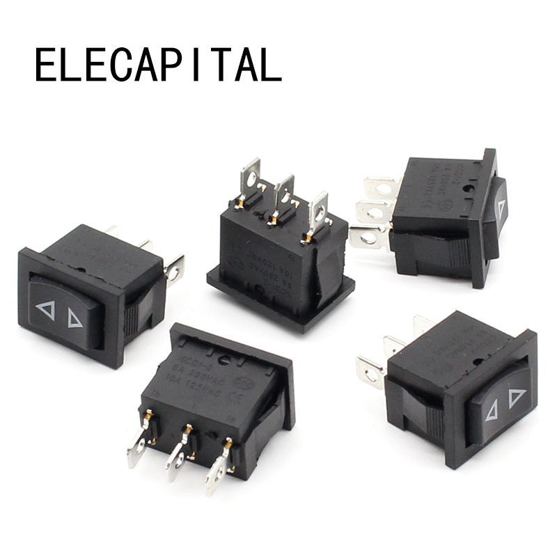 5pcs Rocker switch Momentary (ON)-OFF-(ON) 3pins 5pcs lot high quality 2 pin snap in on off position snap boat button switch 12v 110v 250v t1405 p0 5