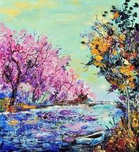 5D DIY Diamond Painting Scenery Full Square  Embroidery Sale Landscape Tree & Boat Rhinestones