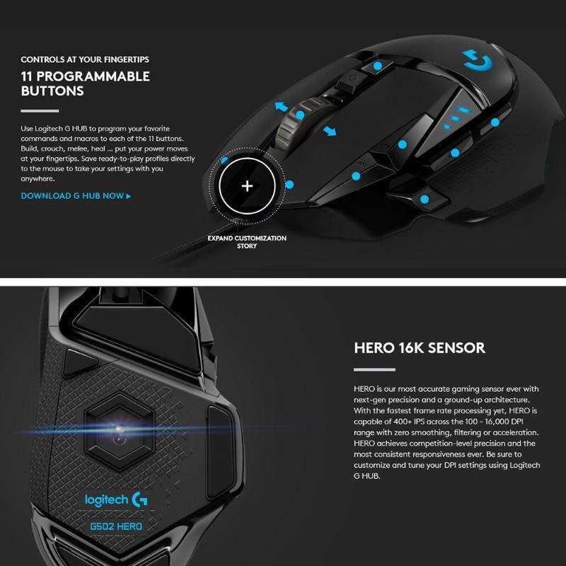 G502 HERO High Performance Gaming Mouse 200-16000 DPI 16K Sensor